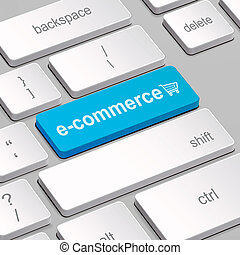 e-commerce concept with computer keyboard - message on...