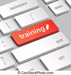 training concept with computer keyboard - message on...