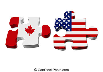 Canada working with USA, Puzzle pieces with the Canadian...