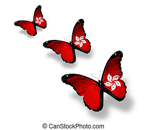 Three Central African Republic flag butterflies, isolated on...