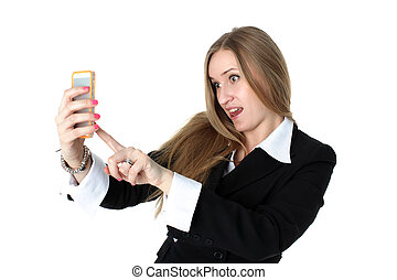 woman in business outfit take a funny self portrait with her...