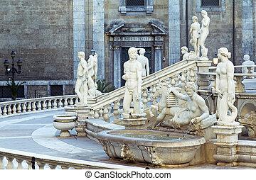 Palermo, Piazza Pretoria, also known as the Square of Shame,...