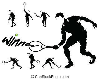tennis players silhouettes vector