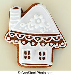 christmas decorative  gingerbread cookie in shape of the house