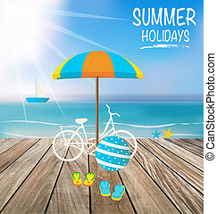 Summer holiday background with wood terrace Vector...