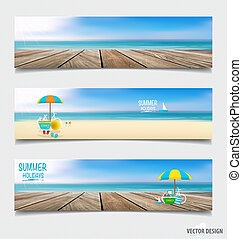 Summer holiday background on note paper. Vector illustration.