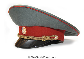 Officer Hat - Russian Ukrainian Police Officer Hat on white...