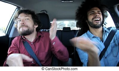 Two drunk man sing in car - Having fun in car after party...