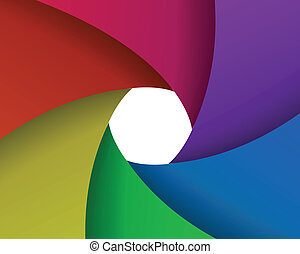 abstract color aperture blades background and space for...