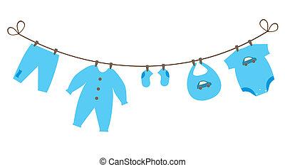 baby clothes - vector newborn baby boy clothes