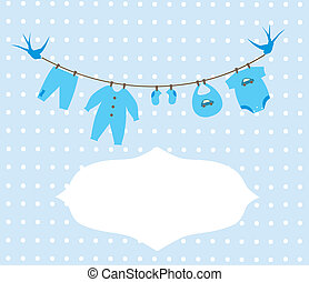 Baby Clothes - vector baby boy clothes card