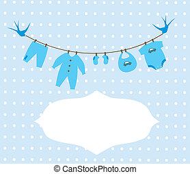 Baby Clothes - vector baby boy clothes card