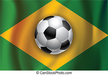 Brazilian country flag with socce  ball World Cup 2014