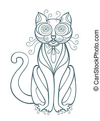 Funny Cat - Illustration with cat, line art drawing Portrait...