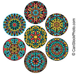 Set Of Brigh Circle Patterns - Set of isolated design...