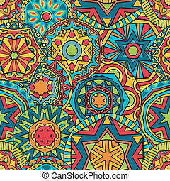Fancy Rounds Ethnic Pattern - Seamless geometric pattern...