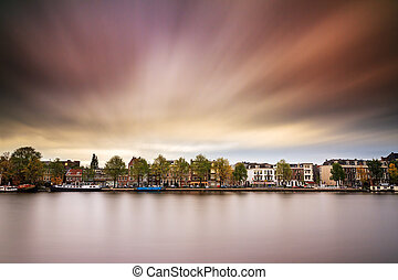 Amstel exposure - Long exposure image of the houses at the...
