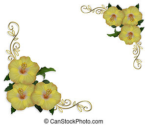 Hibiscus Flowers border design - Image and illustration...