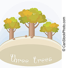 Three Bottle Trees - Illustration with simple landscape of...