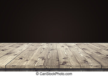 Empty wooden table for product placement or montage with...
