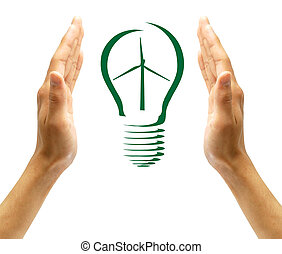 Concept Wind turbine  in light bulb symbol of renewable energy