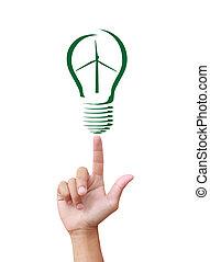 Concept Wind turbine  in light bulb symbol of renewable energy