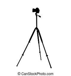 camera on a tripod - Silhouette of the camera on a tripod