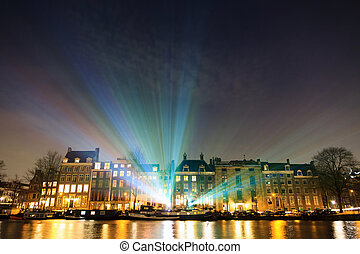 Amstel lights - Lightshow over the river Amstel at the...