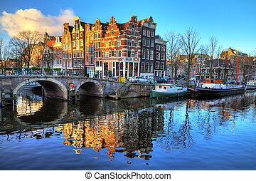 Amsterdam morning canal - Beautiful image of the UNESCO...