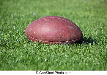 old American football ball on green grass