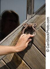 hand knock retro rusty door handle ringer knocker - guest...