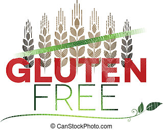 Gluten free message and wheat at the top. Gluten free diet...