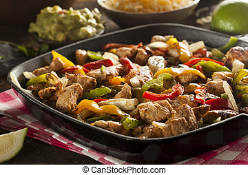 Homemade Chicken Fajitas with Vegetables and Tortillas