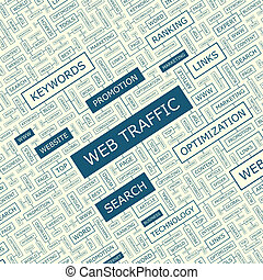 WEB TRAFFIC. Word cloud concept illustration. Wordcloud...