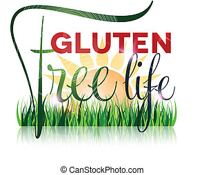 Gluten free diet text and grass at the front, sun at the...