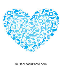 heart with marine life - blue heart with sea silhouette on a...