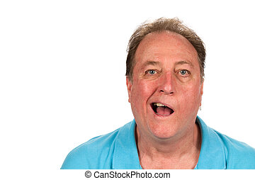Man With Bell's Palsy - Mature man with Bell's palsy talking...