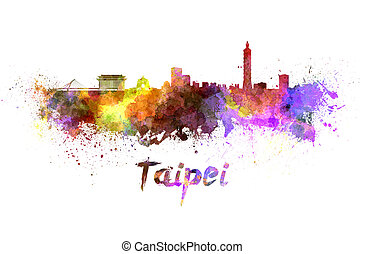 Taipei skyline in watercolor splatters with clipping path