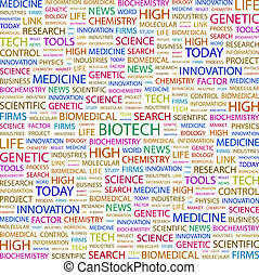 BIOTECH. Background concept wordcloud illustration. Print...