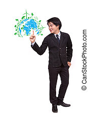 businessman pointing green ecology concept