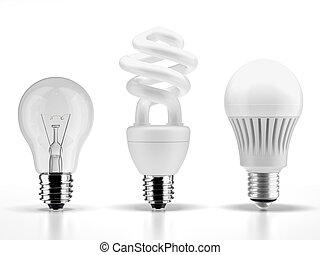 tungsten,fluorescent and LED bulbs isolated on a white...