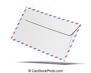mail envelope isolated on a white background. 3d render