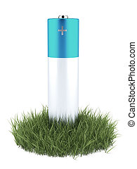 Green grass and battery
