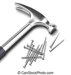 Hammer and nails  isolated on a white background. 3d render
