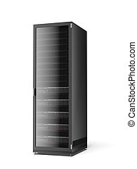 Server rack isolated on a white background. 3d render