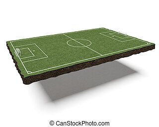 piece of land with a football field isolated on a white...