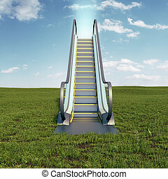 escalator to the sky - Field with escalator to the sky. 3d...