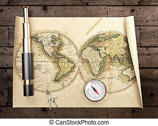 Vintage telescope on antique map