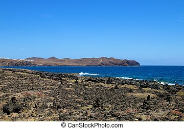 Lanzarote Rocky Beach Scene 004 - View on the barren...