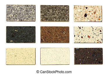 Countertop samples over white background